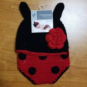 Hand Crocheted hat & diaper cover set
